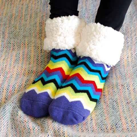 Classic Slipper Socks | Chevron  Multi