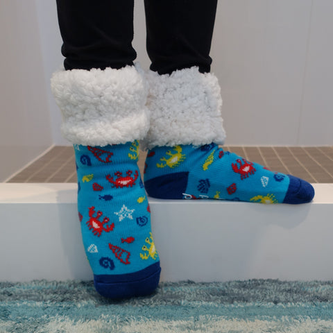 Classic Slipper Socks | Crab Blue