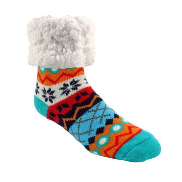 Pudus Cozy Winter Slipper Socks for Women and Men with Non-Slip Grippers and Faux Fur Sherpa Fleece - Adult Regular Fuzzy Socks Winter Snowflake - Classic Slipper Sock