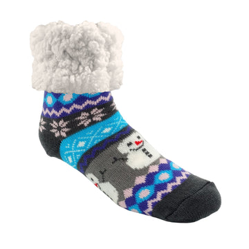 Pudus Cozy Winter Slipper Socks for Women and Men with Non-Slip Grippers and Faux Fur Sherpa Fleece - Adult Regular Fuzzy Socks Winter Snowman - Classic Slipper Sock