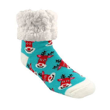 Pudus Cozy Winter Slipper Socks for Women and Men with Non-Slip Grippers and Faux Fur Sherpa Fleece - Adult Regular Fuzzy Rudolf Aqua - Classic Slipper Sock
