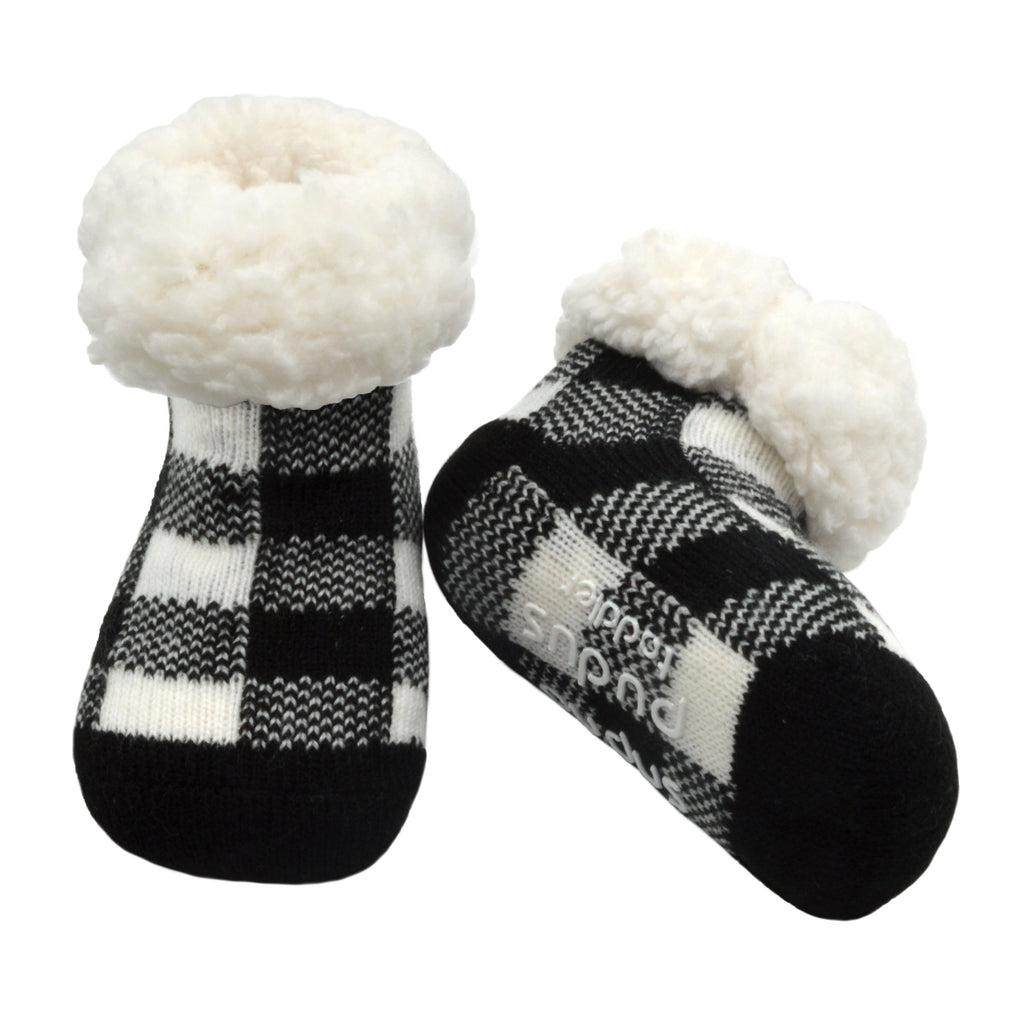 Pudus Cozy Winter Slipper Socks for Toddlers with Non-Slip Grippers and Faux Fur Sherpa Fleece - Baby Boy and Girl Fuzzy Socks (Ages 1-3) Lumberjack White - Toddler Slipper Sock