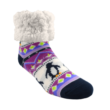 Classic Slipper Socks | Lilac Penguin