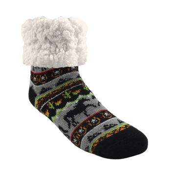 Pudus Cozy Winter Slipper Socks for Women and Men with Non-Slip Grippers and Faux Fur Sherpa Fleece - Adult Regular Fuzzy Socks Horse Grey - Classic Slipper Sock