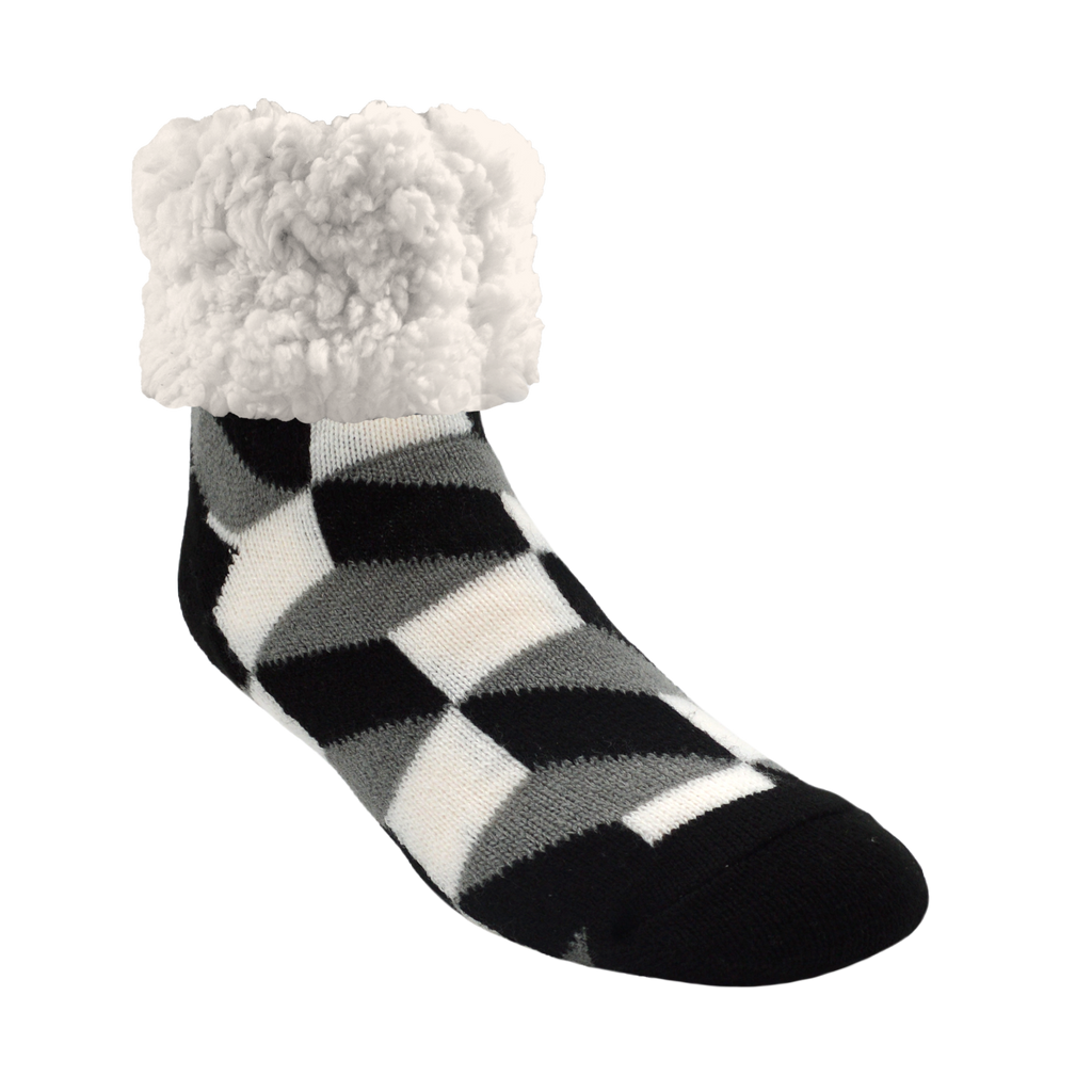 Pudus Cozy Winter Slipper Socks for Women and Men with Non-Slip Grippers and Faux Fur Sherpa Fleece - Adult Regular Fuzzy Socks in Checkerbox Black - Classic Slipper Sock