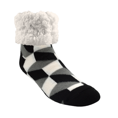 Classic Slipper Socks | Checkerbox Black
