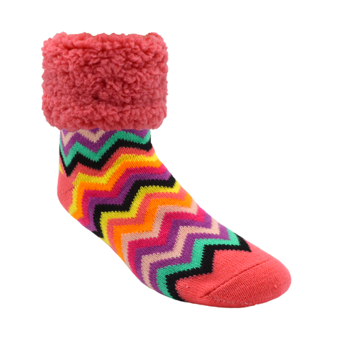 Bright Classic Slipper Socks | Coral Chevron