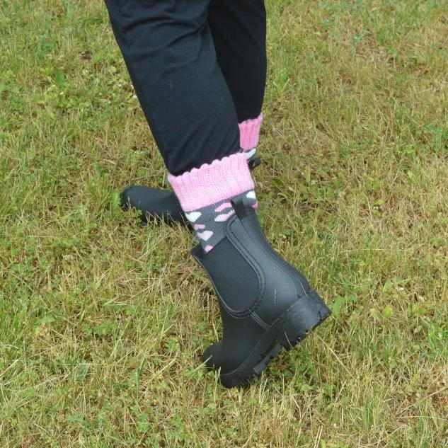 Boot Sock Heart Pink Adult Large Short