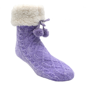 Chenille Cable Knit Classic Slipper Socks | Lavender
