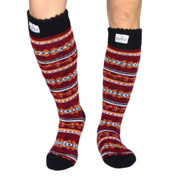 Autumn Red Tall Boot Socks With Fleece-Lining, Knee High Winter Thermal Socks