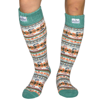 Autumn White Tall Boot Socks With Fleece-Lining, Knee High Winter Thermal Socks