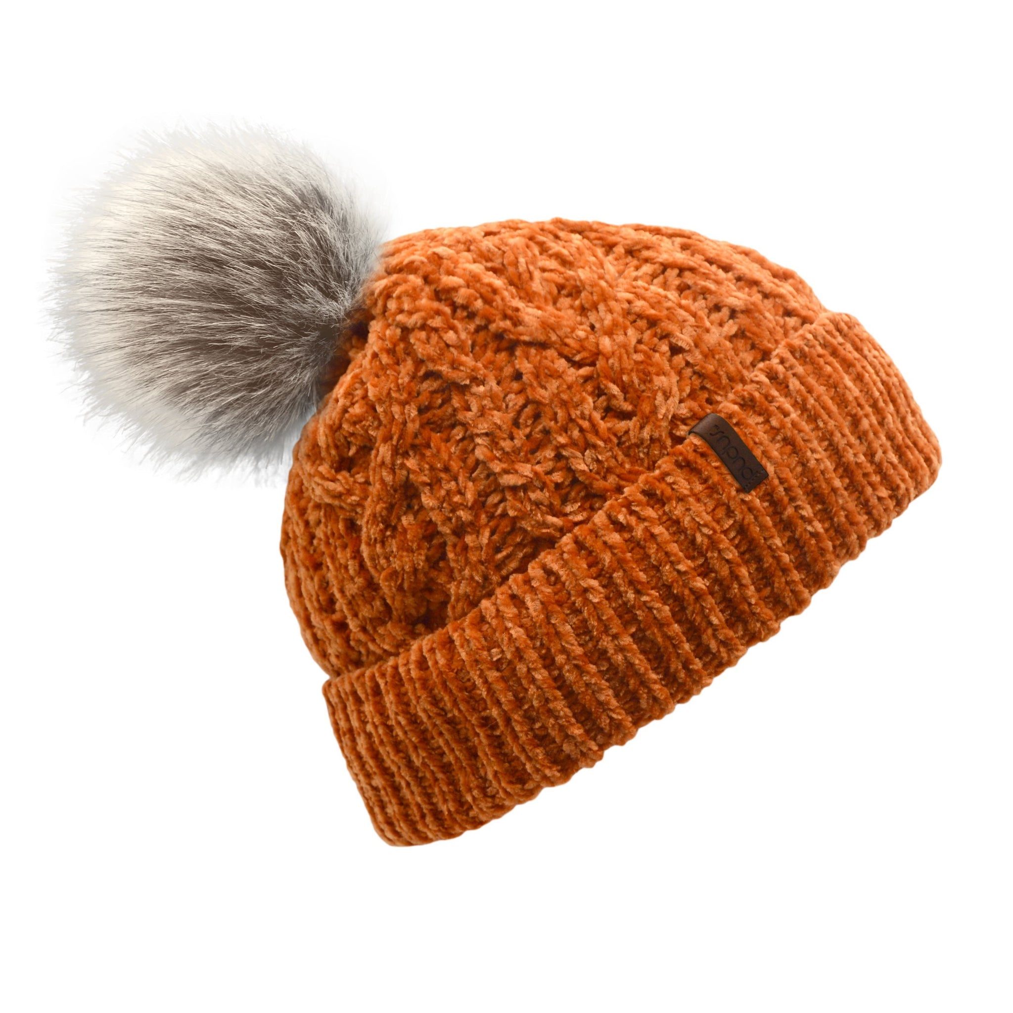 Pudus Winter Cable Knit Chenille Toque in Peach Caramel with Fuzzy Pom Pom and Faux Fur Sherpa Fleece Lining