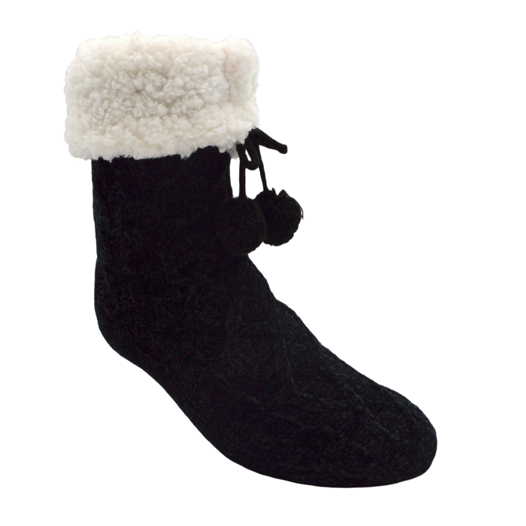 Pudus Winter Cable Knit Slipper Socks in Black with Non-Slip Grippers and Faux Fur Sherpa Fleece Lining