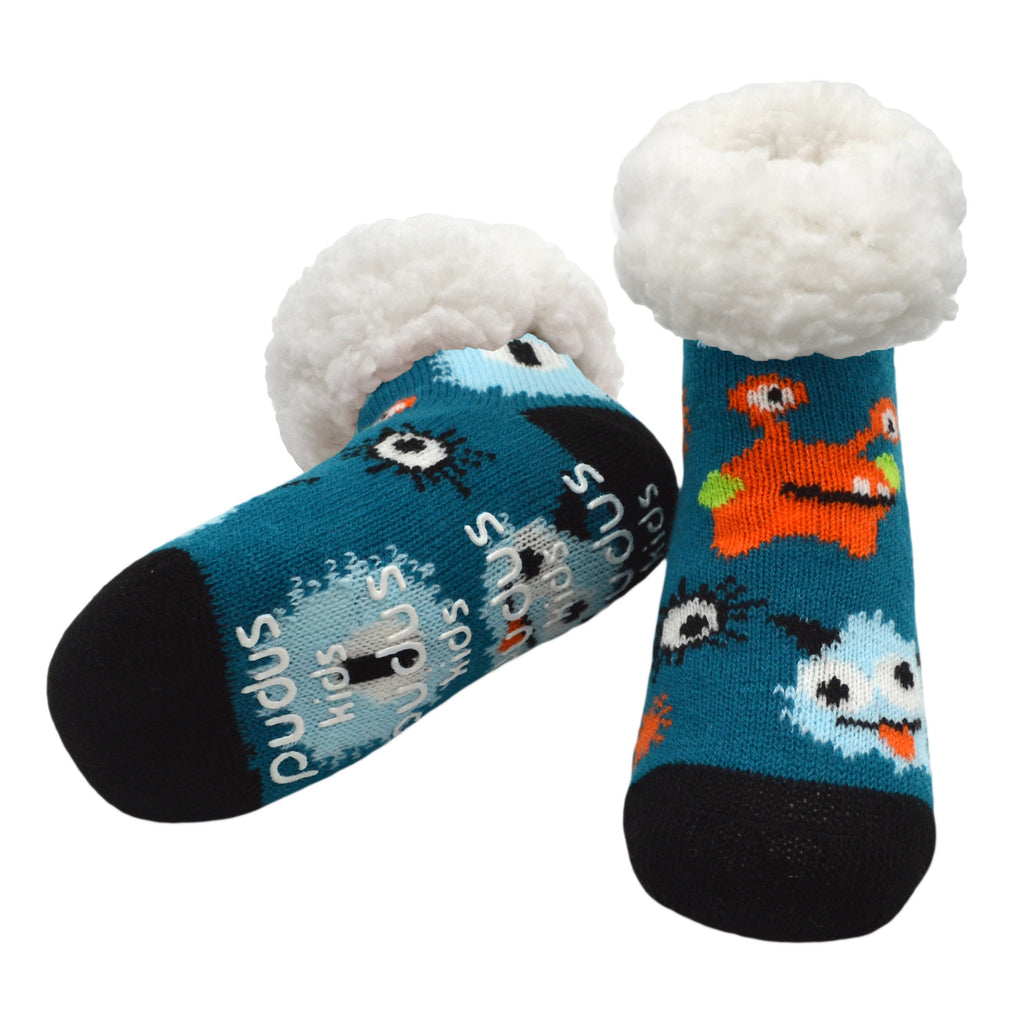 Kids Classic Slipper Socks | Monster Blue