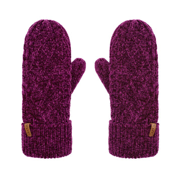Winter Mittens in Dark Purple Chenille Cable Knit - Adult Warm Gloves