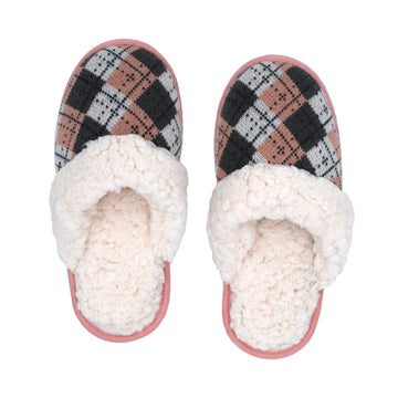 Pudus Cozy & Fluffy House Slippers for Women, Memory Foam Slipper Slides with Plush Faux Fur Fleece Lining Creekside Slide Argyle Blush