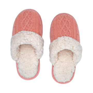Pudus Cozy & Fluffy House Slippers for Women, Memory Foam Slipper Slides with Plush Faux Fur Fleece Lining Creekside Slide Cable Knit Blush