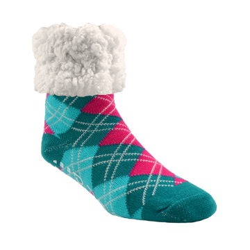 Pudus Cozy Winter Slipper Socks for Women and Men with Non-Slip Grippers and Faux Fur Sherpa Fleece -  Adult Regular Fuzzy Socks Argyle Harbor - Classic Slipper Sock