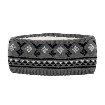 Pudus Classic Knit Winter Headband for Women, Fuzzy Fleece-Lined Ear Warmer Geometric Black - Headband Adult