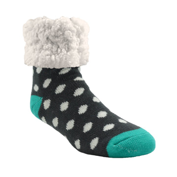Pudus Cozy Winter Slipper Socks for Women and Men with Non-Slip Grippers and Faux Fur Sherpa Fleece - Adult Regular Fuzzy Socks Polka Dot Grey - Classic Slipper Sock