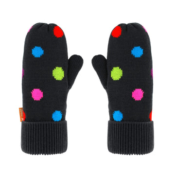 Pudus Classic Knit Winter Mittens for Women, Sherpa Fleece-Lined Warm Gloves Polka Dot - Mittens Adult