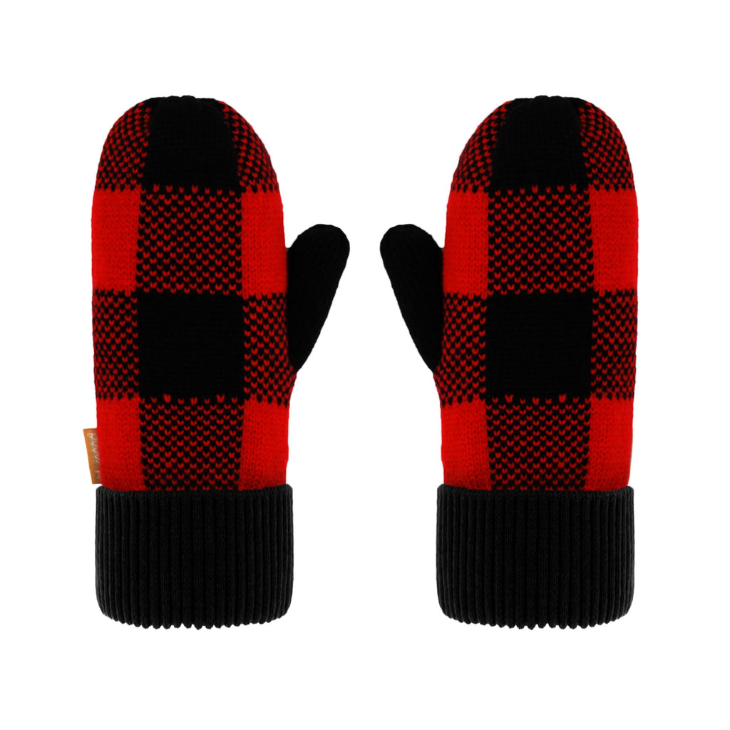 Pudus Kids Winter Knit Mittens, Fuzzy Sherpa-Lined Warm Gloves for Boys & Girls Lumberjack Red - Mittens Kids
