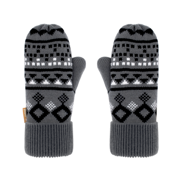 Pudus Classic Knit Winter Mittens for Women, Sherpa Fleece-Lined Warm Gloves Geometric Black - Mittens Adult