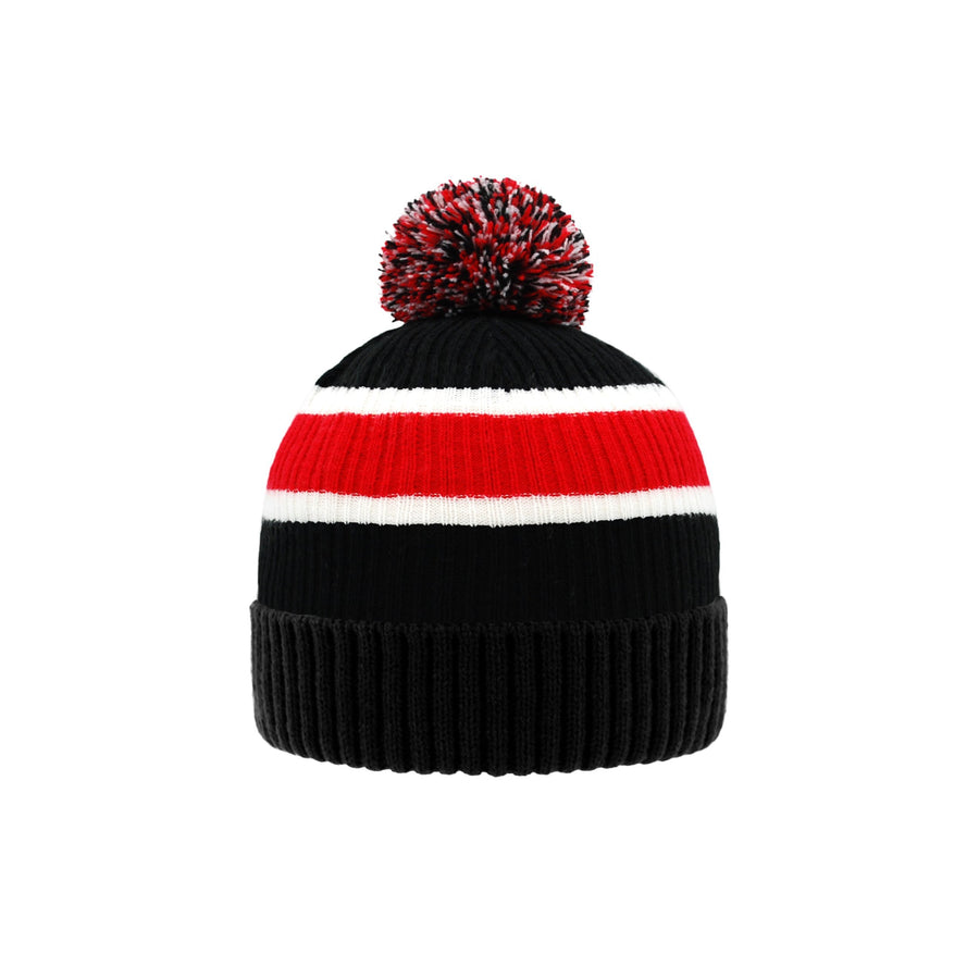 "Pudus Unisex Classic Knit Winter Beanie Hat - Fluffy Pom Pom & Warm Fleece Lined Stripe Black Pom Pom Beanie Hat €"" Adult"