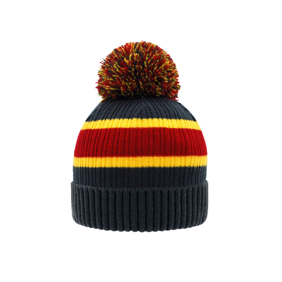 Pudus Unisex Classic Knit Winter Beanie Hat - Fluffy Pom Pom & Warm Fleece Lined Stripe Grey with Pom Pom - Hat Adult