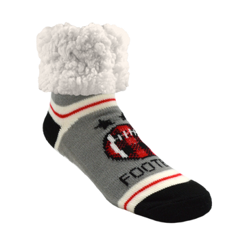 Pudus Cozy Winter Slipper Socks for Women and Men with Non-Slip Grippers and Faux Fur Sherpa Fleece - Adult Regular Fuzzy Socks Football Red - Classic Slipper Sock