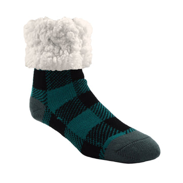 Pudus Cozy Winter Slipper Socks for Women and Men with Non-Slip Grippers and Faux Fur Sherpa Fleece - Adult Regular Fuzzy Socks Lumberjack Harbor - Classic Slipper Sock