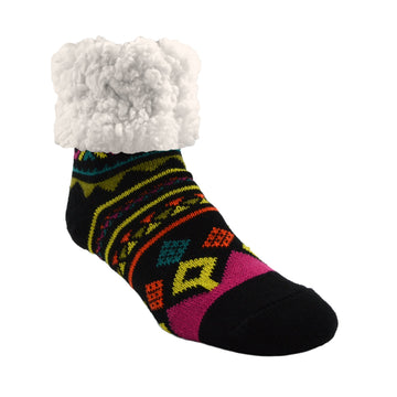 Pudus Cozy Winter Slipper Socks for Women and Men with Non-Slip Grippers and Faux Fur Sherpa Fleece - Adult Regular Fuzzy Socks Geometric Yellow - Classic Slipper Sock