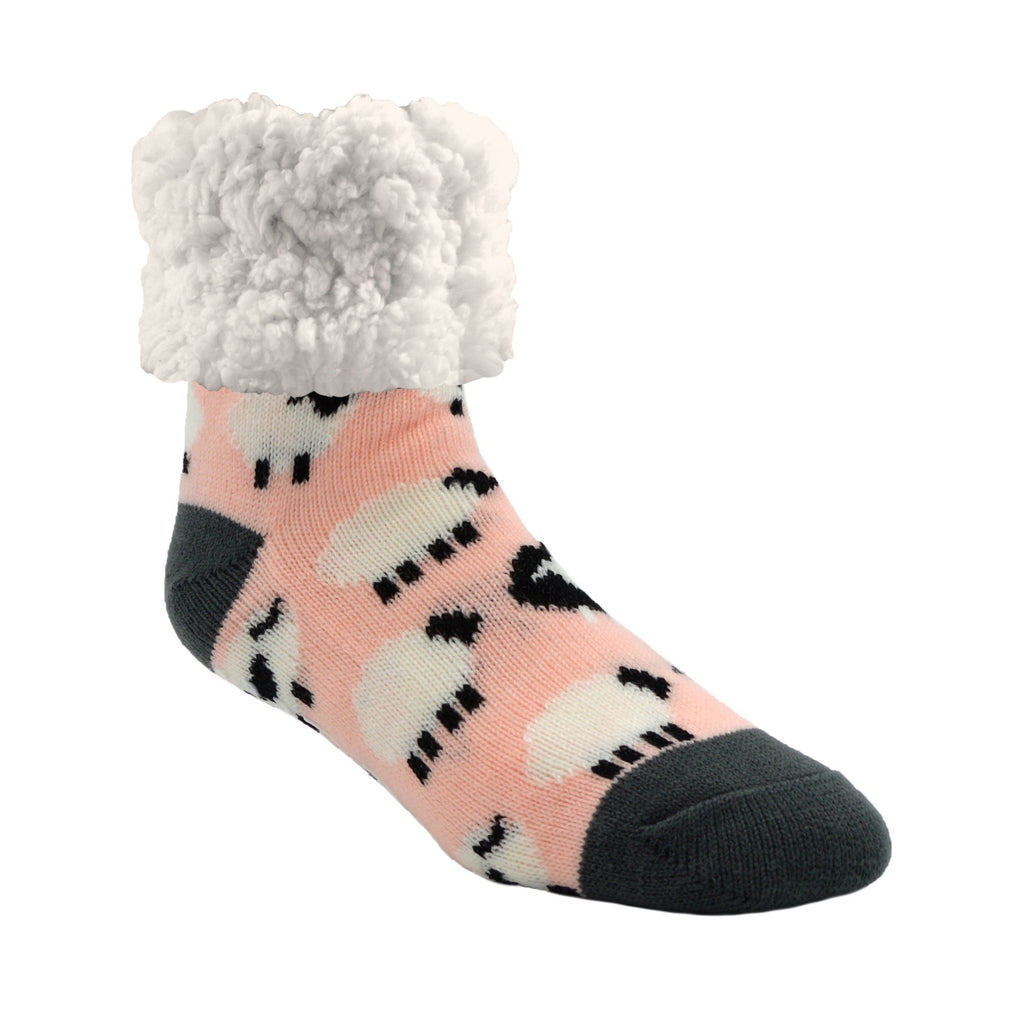 Pudus Cozy Winter Slipper Socks for Women and Men with Non-Slip Grippers and Faux Fur Sherpa Fleece - Adult Regular Fuzzy Sheep Blush - Classic Slipper Sock