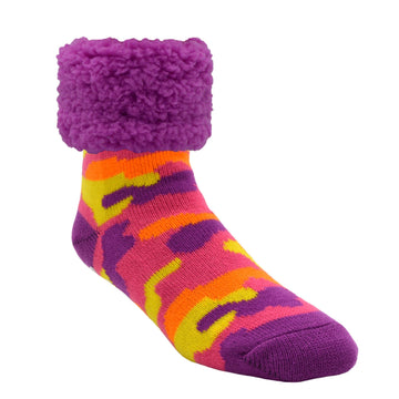Bright Classic Slipper Socks | Camo Purple