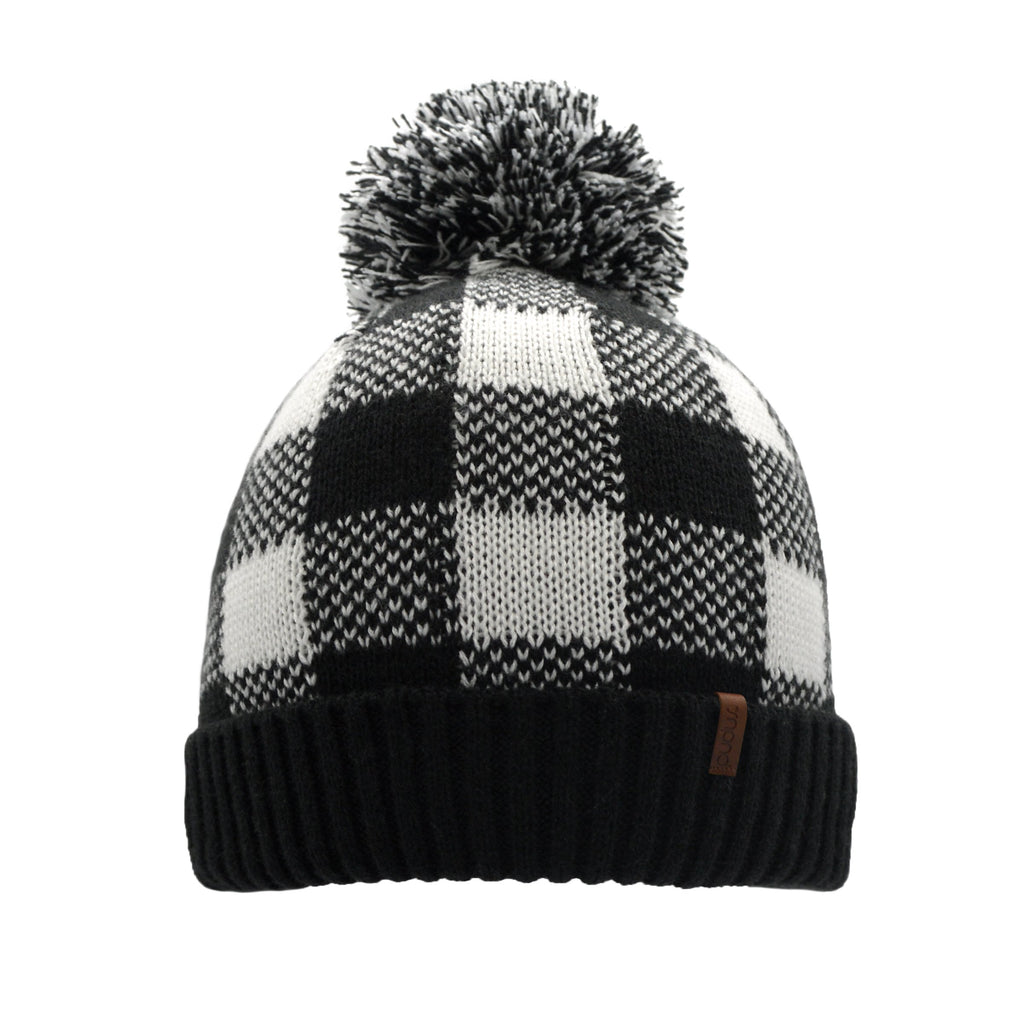 Lumberjack White Pom Pom Beanie Hat - Warm Winter Hat for Men & Women with Furry Sherpa Fleece Lining