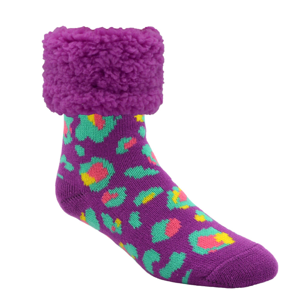 Bright Classic Slipper Socks | Purple Leopard