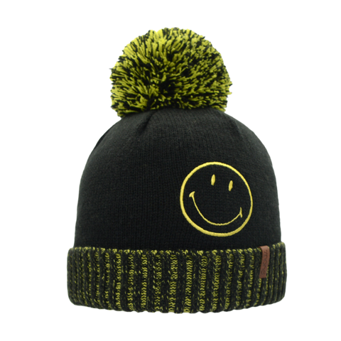 Smiley® x Pudus Winter Beanie Hat | Black