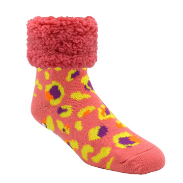 Bright Classic Slipper Socks | Coral Leopard