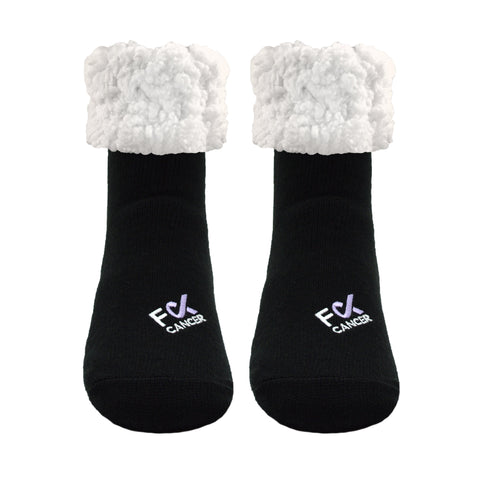 F Cancer x Pudus Classic Slipper Socks | Black