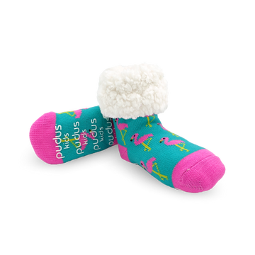 Pudus Cozy Winter Slipper Socks for Kids with Non-Slip Grippers and Faux Fur Sherpa Fleece - Boy and Girl Fuzzy Socks (Ages 4-7) Flamingo - Kids Classic Slipper Sock