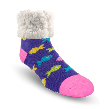 Pudus Cozy Winter Slipper Socks for Women and Men with Non-Slip Grippers and Faux Fur Sherpa Fleece - Adult Regular Fuzzy School Of Fish - Classic Slipper Sock