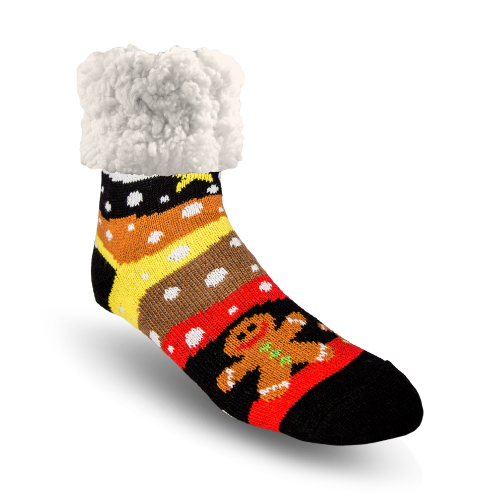 Classic Slipper Socks | Snowy Gingerbread Man