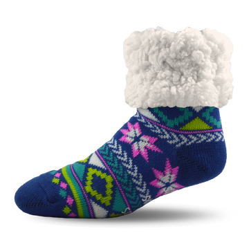 Pudus Cozy Winter Slipper Socks for Women and Men with Non-Slip Grippers and Faux Fur Sherpa Fleece - Adult Regular Fuzzy Socks Geometric Blue - Classic Slipper Sock