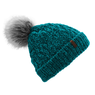 Pudus Winter Cable Knit Chenille Toque in Harbour Teal with Fuzzy Pom Pom and Faux Fur Sherpa Fleece Lining