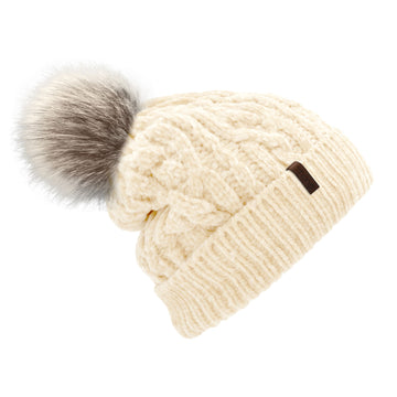 Pudus Winter Cable Knit Chenille Toque in White with Fuzzy Pom Pom and Faux Fur Sherpa Fleece Lining