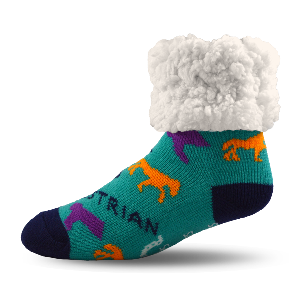 Pudus Cozy Winter Slipper Socks for Women and Men with Non-Slip Grippers and Faux Fur Sherpa Fleece - Adult Regular Fuzzy Socks Crabs - Equestrian - Classic Slipper Sock