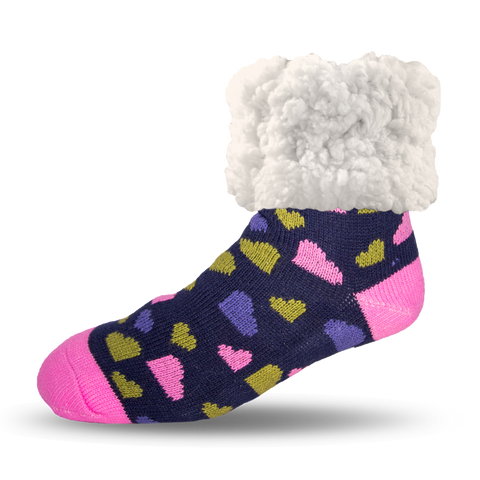 Classic Slipper Socks | Heart Navy