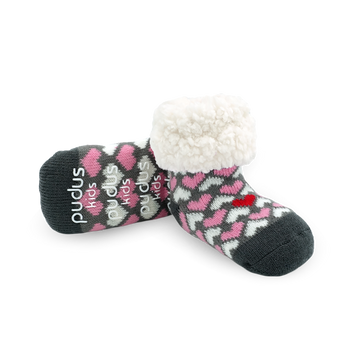 Pudus Cozy Winter Slipper Socks for Kids with Non-Slip Grippers and Faux Fur Sherpa Fleece - Boy and Girl Fuzzy Socks (Ages 4-7) Be My Valentine - Kids Classic Slipper Sock