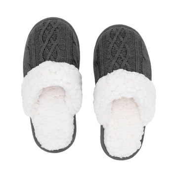 Slides | Cable Knit Grey