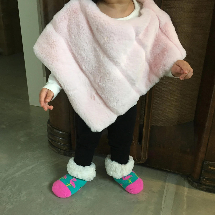 Pudus Cozy Winter Slipper Socks for Toddlers with Non-Slip Grippers and Faux Fur Sherpa Fleece - Baby Boy and Girl Fuzzy Socks (Ages 1-3) Flamingo - Toddler Classic Slipper Socks